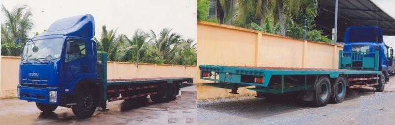 Xe ISUZU 3 chân nâng đầu chở máy chuyên dùng 14 tấn
